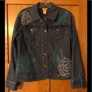 Ruby Rd Denim Embellished Beaded Jacket Size 12
